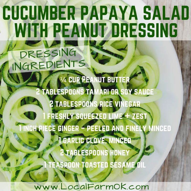 cucumber papaya salad with peanut dressing